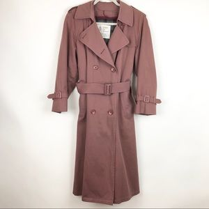 London Fog Trench Coat Flannel Linned Mauve